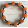 Powerbead  armband - Hematiet met Vierkante Rode Aventurijn
