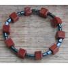Powerbead  armband - Hematiet met Vierkante Rode Jaspis